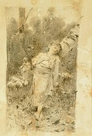 The shepherdess, by Francesco Paolo Michetti (1851-1929), drawing.  Chieti, Museo D'Arte Costantino Barbella (Art Museum)