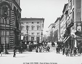 Italy, 20th century. Florence, Piazza Duomo and Via Cerretani. Postcard.