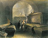 Crypt of the Capucines in Vienna, Austria 18 th Century. Engraving.  Private Collection