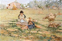 Country scene, 1891, by Niccolo Cannicci (1846-1906), oil on canvas, 30x46 cm.  Private Collection
