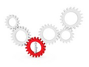 3d gear human man red teamwork circle business