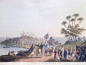 A fair in Kafr Radoin, Egypt 19th Century. Engraving.  Paris, Bibliothèque Des Arts Decoratifs (Library)