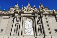 View of the sculpture of the Virgen del Pilar, Zaragoza, Aragon, Spain