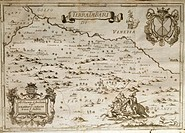 Cartography, Italy, 18th century. The Territory of Bari. From The Kingdom of Naples in perspective by Giovan Battista Pacichelli, 1702. Engraving.  Fo...