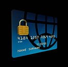 Credit card chip as padlock , 3d illustration
