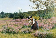 Heath in full bloom, 1886, by Carlo Pollonera (1849-1923), oil on canvas, 74x109 cm.  Private Collection