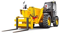 detailed vectorial image of modern yellow telescopic loader, isolated on white background. File contains gradients, no blends and strokes