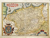 Cartography, 16th century. Map of Germany, from Theatrum Orbis Terrarum by Abraham Ortelius (1528-1598), Antwerp, 1570.  Genoa Pegli, Civico Museo Nav...