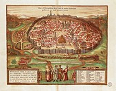 Cartography, Israel and Palestine, 16th century. The City of Jerusalem, from Civitates Orbis Terrarum by Georg Braun and Franz Hogenberg, Cologne. Eng...