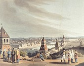 Panoramic view of Moscow, Russia 19th century. Coloured print.  Bayreuth, Richard-Wagner-Museum