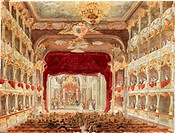 Germany, 19th century. Munich, Bavaria. Interior of the Cuvillies Theatre or Old Residence Theatre (Altes Residenztheater) during a performance. Water...