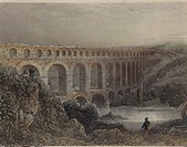 France, 19th century. Nimes. Vers-Pont-du Gard. Pont-du-Gard, a Roman bridge (1st century AD) over the Gardon River which forms part of the aqueduct o...