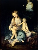 Madonna and Child with the Young Saint John, ca 1518, by Antonio Allegri, known as Correggio (1489-ca 1534), oil on wood, 48x37 cm.  Madrid, Museo Del...