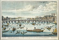 United Kingdom, 18th century. London. Westminister Bridge over the River Thames. Coloured print by Benjamin Cole from a Canaletto painting, about 1746...