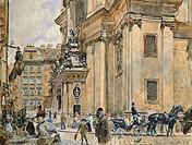 St Peter Square in Vienna, Austria 19th Century.  Vienna, Historisches Museum Der Stadt Wien (History Museum)