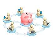 Conceptual image _ virtual bank accounts