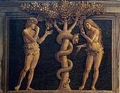 Adam and Eve committing original sin, detail from The Virgin of Victory, 1496, by Andrea Mantegna (1431-1506), tempera on canvas, 280x166 cm.  Paris, ...