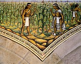 Indians growing corn, a mural painting in the Governor of Tlaxcala's Palace by Desiderio Hernandez Xochitiotzin (1922 - 2007), 1961, Mexico 20th centu...