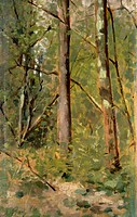 Wood in Crespina, 1886, by Augusto Rey (1837-1898), oil on panel, 23x14 cm.  Private Collection