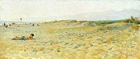 Beach in Cinquale, 1883-1885, by Francesco Gioli (1846-1922), oil on panel, 19x43 cm.  Private Collection