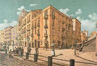 Infrascata Street, in Naples, 1889, lithograph from Ancient Naples, by Raffaela D'Ambra, subject of Matteo Zampella and Francesco Aversano, Italy