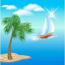 Palm tree, clouds and sun.Sailboat floats on the sea under clear sun and floating clouds.