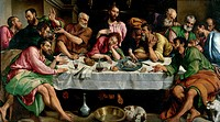The Last Supper, 1542, by Jacopo Bassano (ca 1510-1592), oil on canvas, 168x270 cm.  Rome, Galleria Borghese (Archaeological And Art Museum)