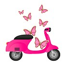 pink cute motorbike with butterflies isolated. vector