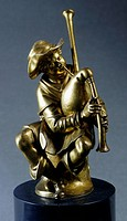 The piper, by Giambologna (1529-1608), gilded bronze.  Florence, Museo Nazionale Del Bargello (Bargello National Museum)