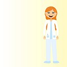 women doctor cartoon over beige background. vector