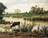 Pontine Marshes (Roman countryside), by Achilles Vertunni (1826-1897). Detail.  Turin, Galleria Civica D'Arte Moderna E Contemporanea (Art Gallery)