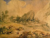 Landscape, by Felice Ferdinando Storelli (1778-1854), watercolour on paper, 39x52 cm.  Turin, Pinacoteca Dell'Accademia Albertina (Picture Gallery)