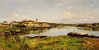 View of Sesto Calende, about 1885, by Lorenzo Gignous (1862-1958), oil on canvas, Italy 19th century, 100x195 cm.  Milano, Accademia Di Belle Arti Di ...