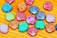 Multi colour plastic shells for beads craft