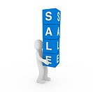 3d sale human blue cube sell business discount