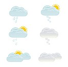 Clouds with snow, rain and sun for weather forecast. Image contains gradients_ EPS8.