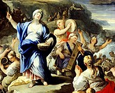 Scene of dancing and singing, from the Song of Miriam, by Luca Giordano (1634-1705), oil on copper.  Madrid, Museo Del Prado