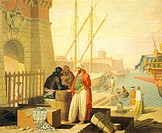 View of the port of Livorno, 1762, by Giuseppe Zocchi (1711-17 - 1767), oil on canvas. Detail.  Florence, Museo Dell'Opificio Delle Pietre Dure (Pietr...