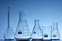 forefront of some empty flasks for laboratory measurement of liquids