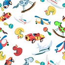 Seamless background with toys, cartoon art