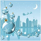 Christmas in the city background with Santa Claus