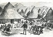 David Livingstone welcomed in a village in the Great Lakes region in Central Africa, drawing by Emile Bayard, 19th Century.