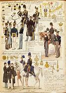 Militaria, Italy, 19th century. Uniforms of the Piedmontese army, 1833. Color plate by Quinto Cenni.  Roma, Archivio Dell'Ufficio Storico Dello Stato ...