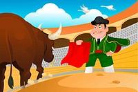 A vector illustration of a matador and a bull