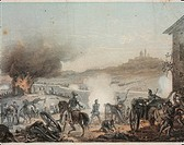 Italy - 19th century - The Battle of Castelfidardo between Piedmontese troops commanded by King Victor Emmanuel II and the army of the Papal States, 1...
