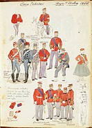 Uniforms of Army Volunteer Corp of Kingdom of Italy by Quinto Cenni, color plate, 1866