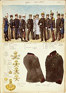Militaria, Italy, 20th century. Uniforms of the Genio (engineers), officers and non-commissioned officers of the Kingdom of Italy, 1904. Color plate b...