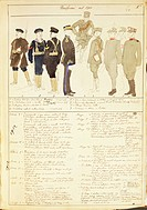 Militaria, Italy, 20th century. Uniforms of the Kingdom of Italy, 1913. Color plate by Quinto Cenni.  Roma, Archivio Dell'Ufficio Storico Dello Stato ...