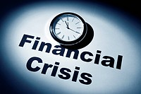 Clock and word of Financial Crisis for background