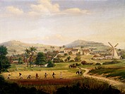 Plantation in Saint Croix (Virgin Islands), the West Indies, ca 1850, painting by Fritz Melbye.  Helsingor, Kronborg Slot (Elsinore Castle), Handels-O...